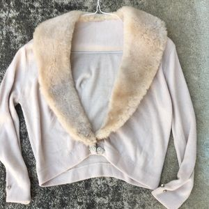 Vintage cream cardigan sweater faux fur women s